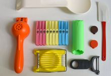 Colorful found kitchen objects