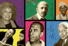 A photo collage of Angela Davis, Web DuBois, Sojourner Truth, Alain LeRoy Locke, Frantz Fanon, and bell hooks