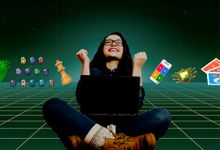 Illustration of girl surrounded by different games