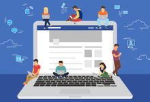 An illustration of a laptop with students sitting and standing on it, surrounded by icons that suggest social media