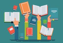 Illustration of a number of hands holding up books