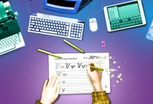 Illustration showing a page of cursive with a typewriter, computer, and smartphone
