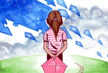Illustration of a girl standing on a hill holding a kite