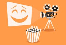 Illustration of a film camera projecting a smiley face with popcorn in the foreground