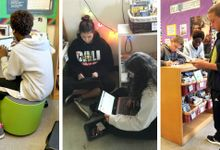 Multiple images of workspaces in the author's classroom