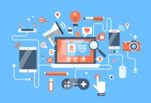 Illustration showing a computer surrounded by images of a tablet, computer, camera, mouse, game controller, and more