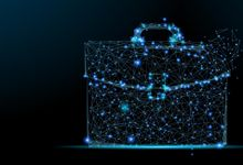 Stylized illustration of a briefcase composed of points of blue light connected by blue lines
