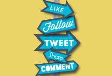 Graphic of a signpost with social-media directions