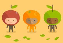 Illustration of children dressed as apples and oranges