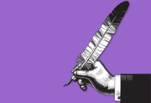 Illio of a hand and arm in a suit holding a feather quill pen