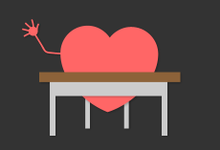 An illustration of a heart at a school desk, raising its hand.