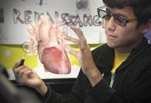 Student explores 3D rendering of a heart.