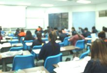 Photo of a large class at work.