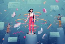 An illustration of three students surrounded by floating school materials, like books, graphs, and rulers.