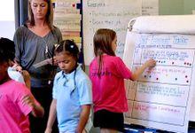Kids putting dots on a self-assessment chart