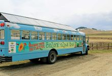 An exterior shot of a blue-painted bus with clouds and a solar panel roof. It's parked on dirt overlooking hills.