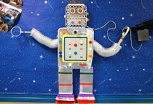 Very colorful classroom bulletin board with a robot