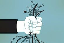 Illustration of hand holding wires