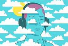 Illustration hero of person wearing headphones listening to podcasts