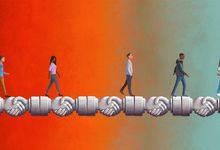 Illustration of people walking over bridge of joined hands.