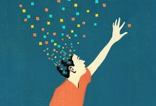 Illustration of person reaching for dots