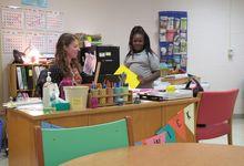 Teacher and student speak one-on-one