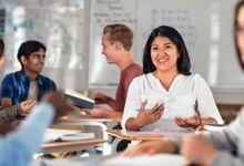 High school students talking in class
