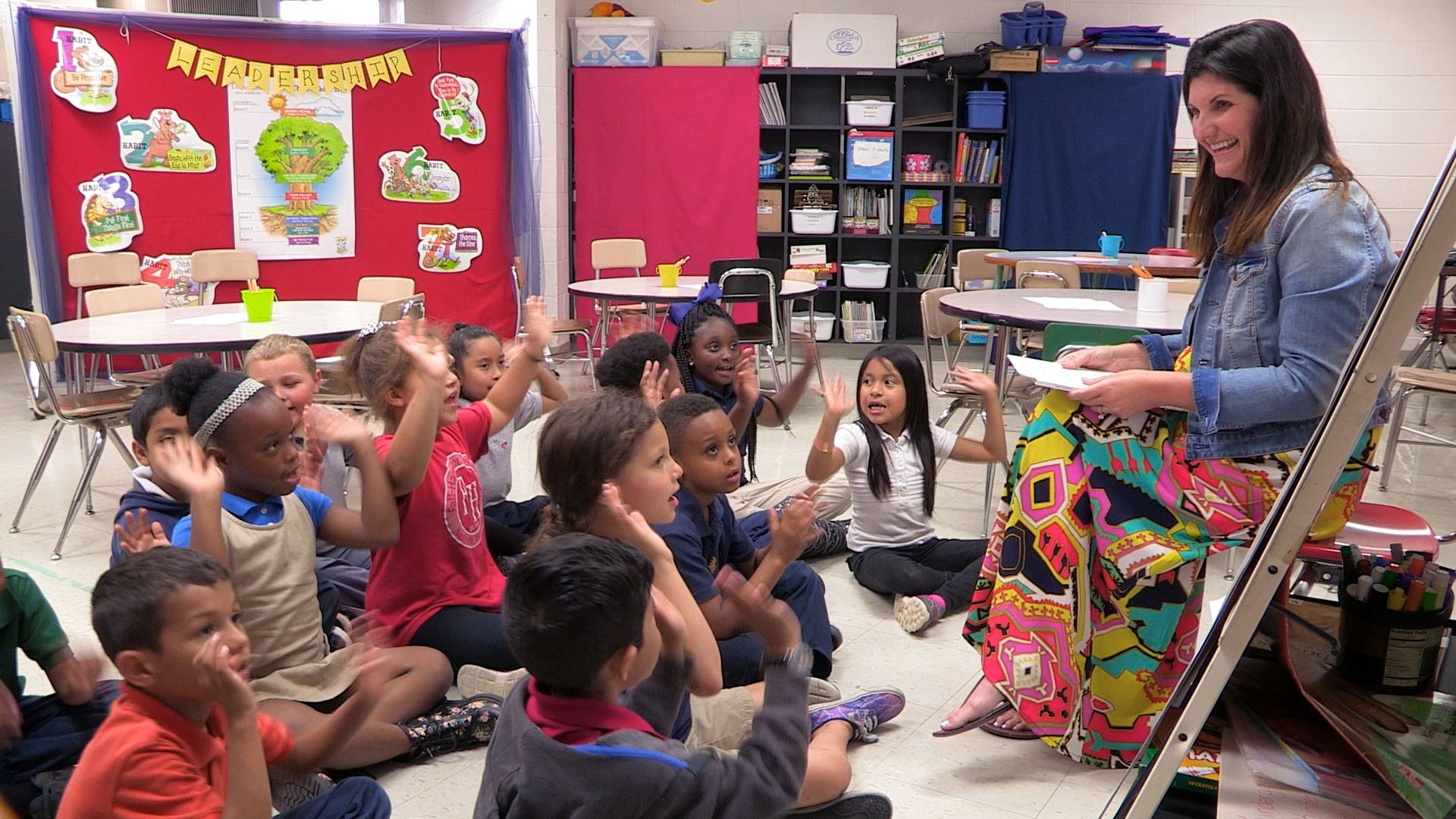 A teacher at work with a class at Fall-Hamilton Elementary