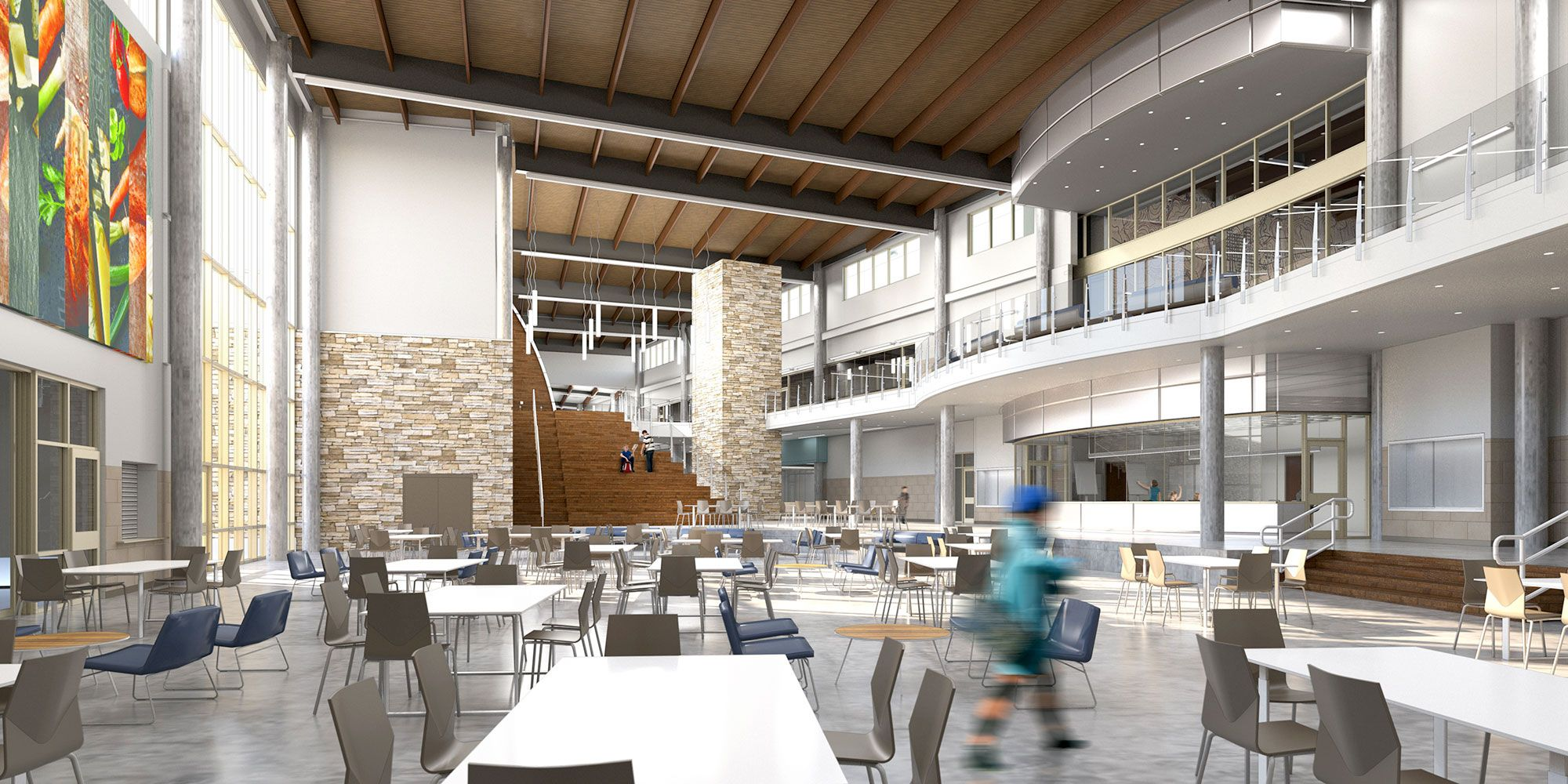 At Wagner Middle School, a public school in Georgetown, Texas, the cafeteria is the heart of the campus and features a stage for performances and a learning stair for solo and group work.