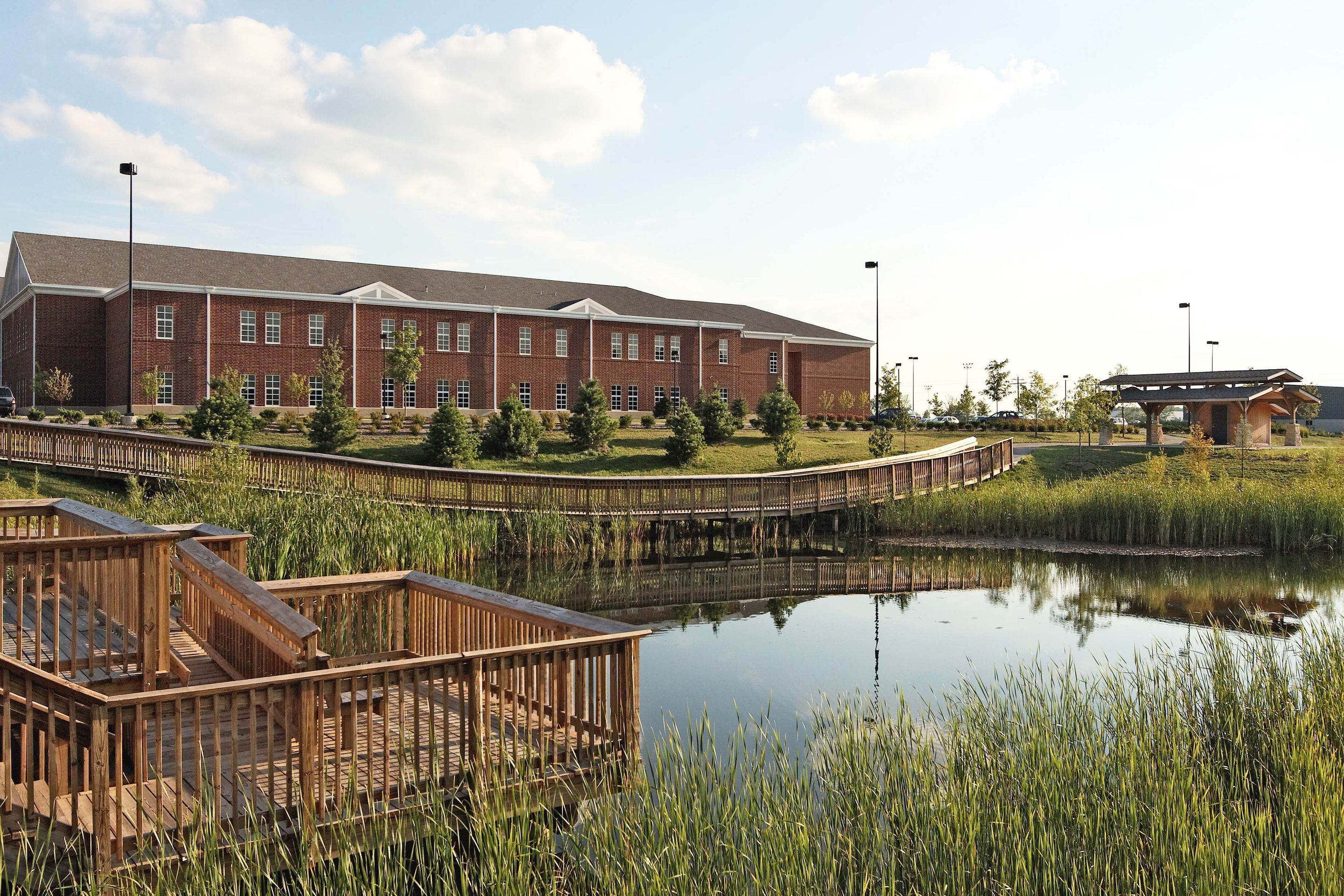 The retention pond at Zionsville West Middle School is a Wi-Fi-enabled demonstration area for science classes and a spot for project-based learning.
