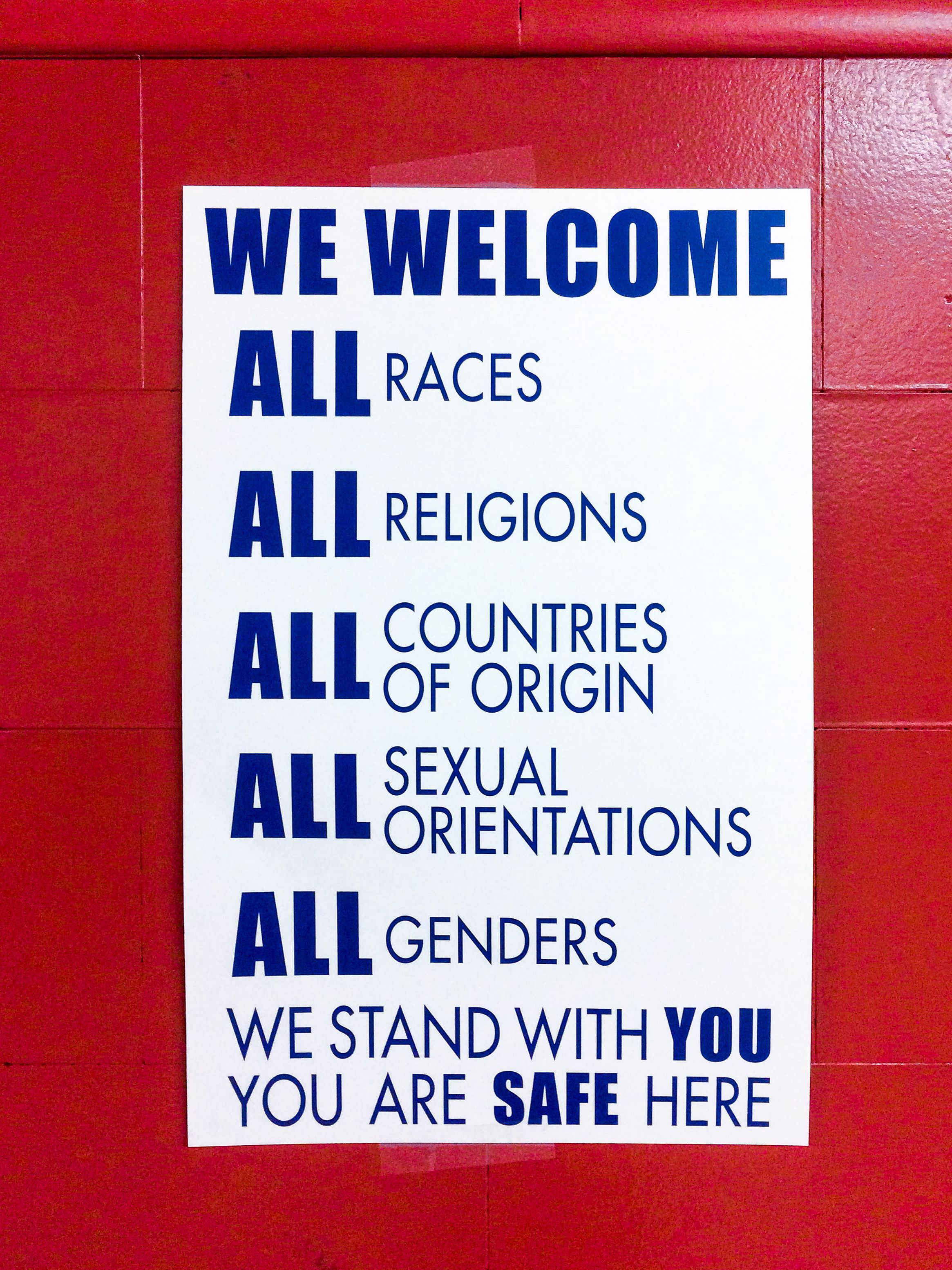 A safe space sign at at Marysville Elementary School in Portland, Oregon.