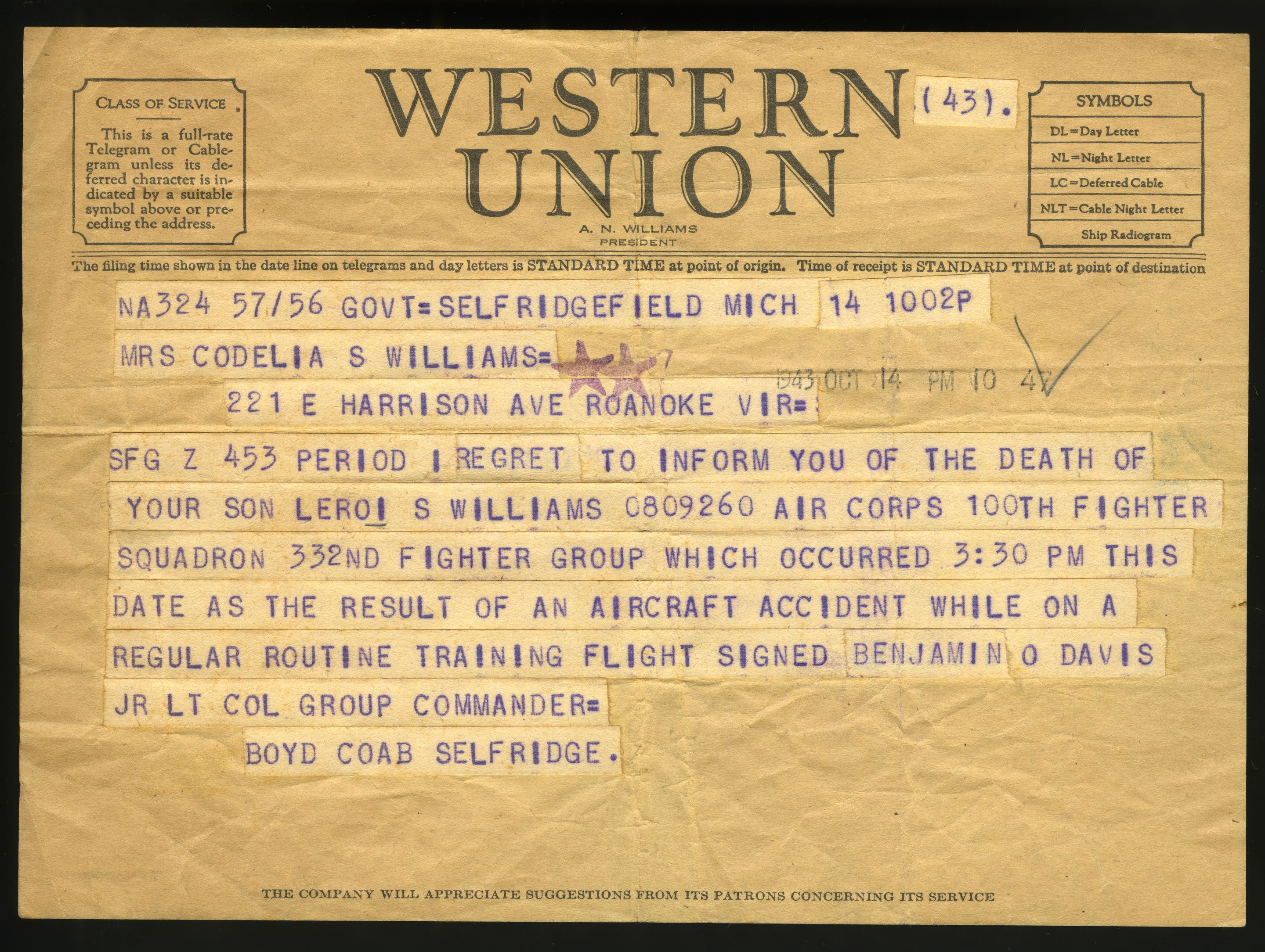 A telegram informs LeRoi S. Williams's mother of his passing in 1943.