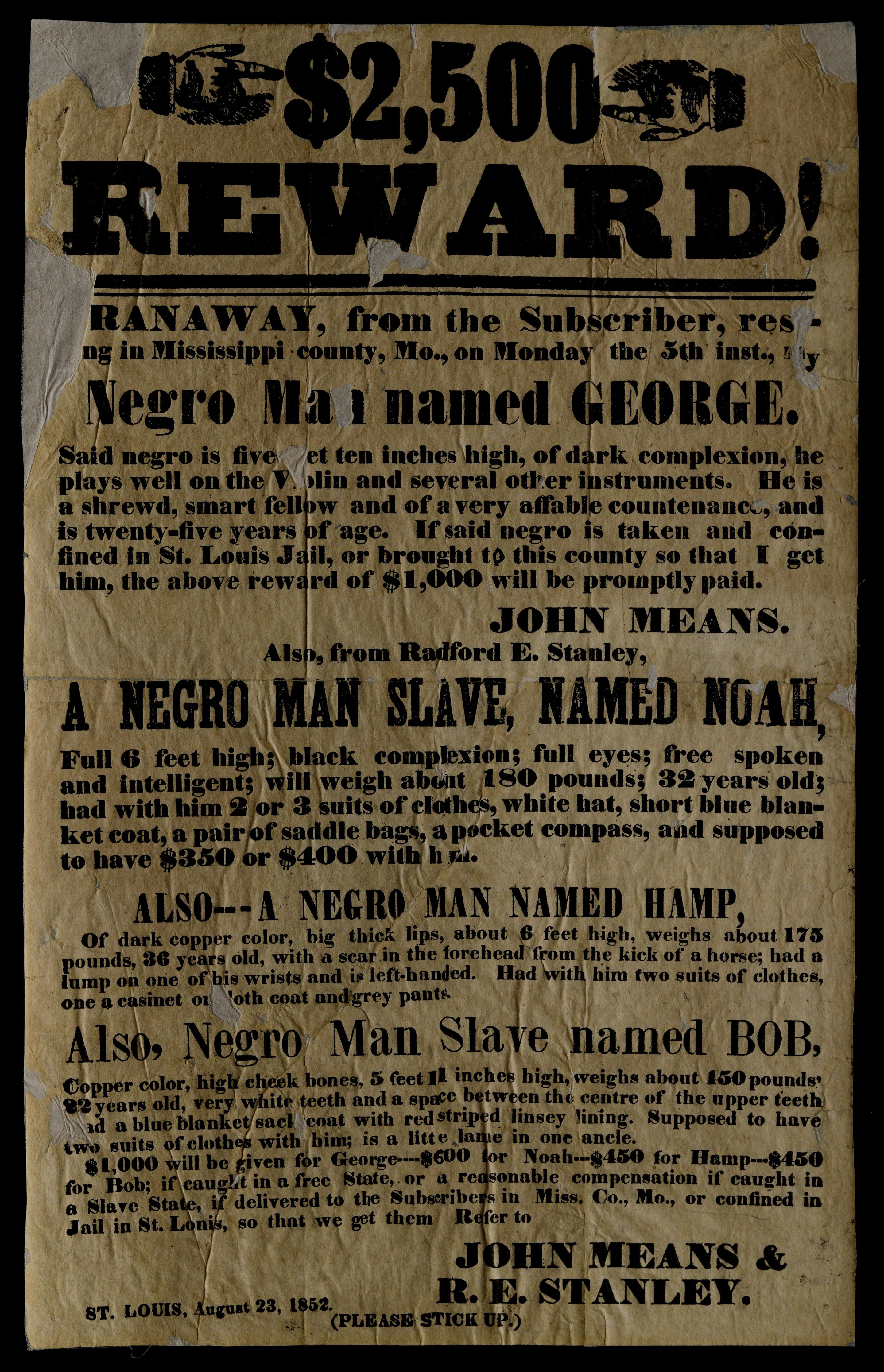 An image from Gilder Lehrman's digital archives shows an 1852 poster offering $2,500 for runaway slaves in Missouri.