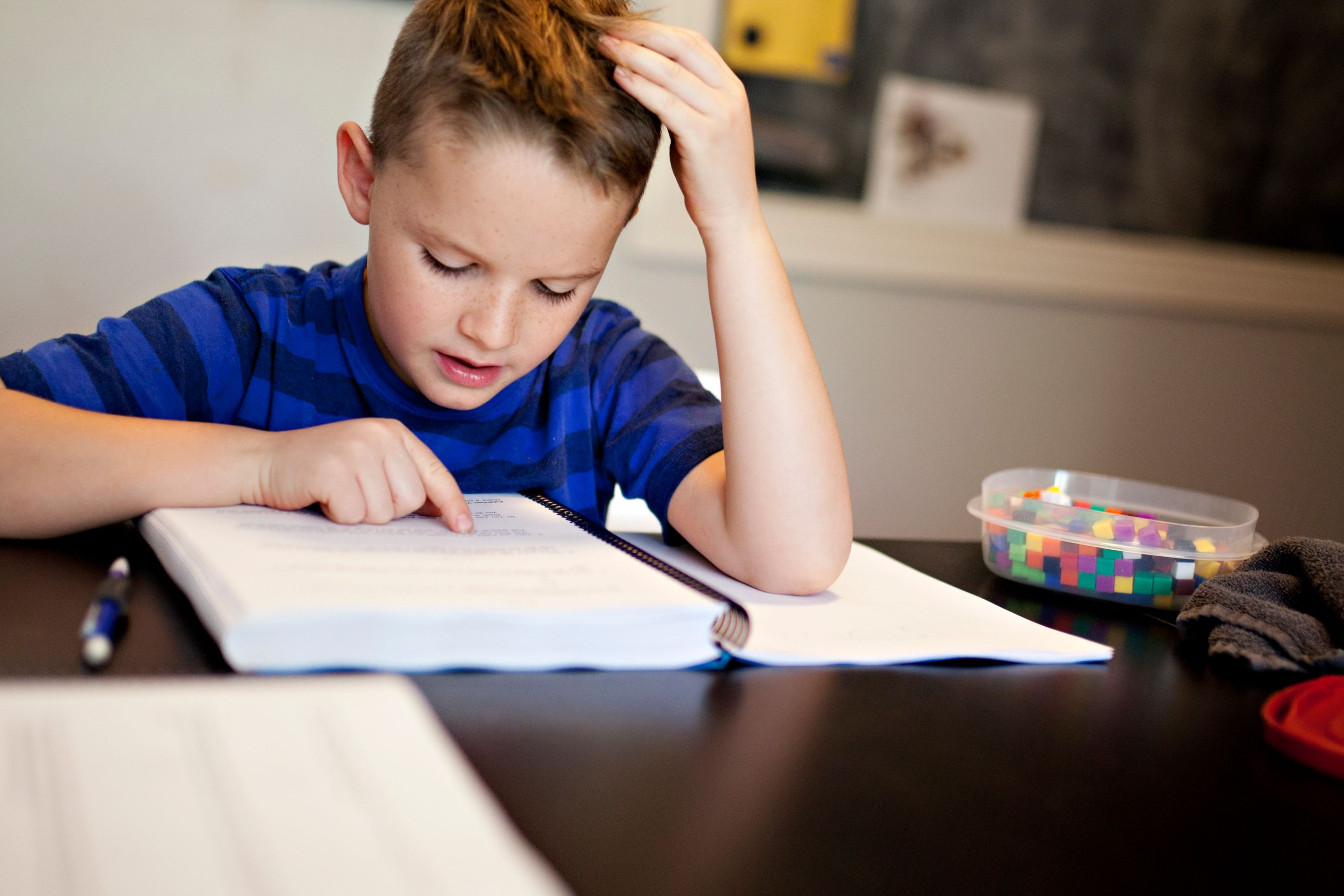 Boy frustrated over math homework