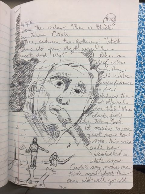 Teacher Tony Sedun models visual journaling for his middle school students by sharing his own work.