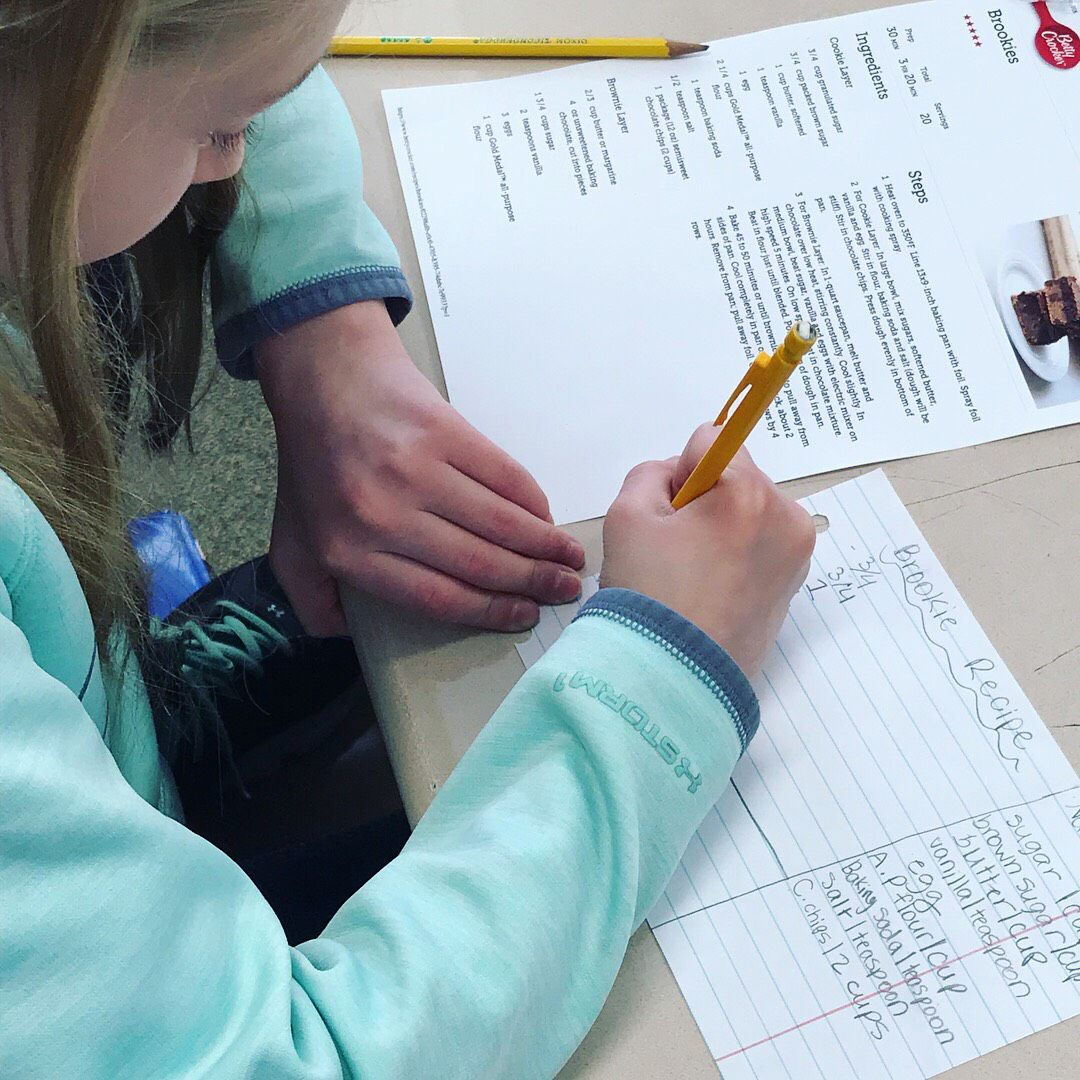 One of Gabi Sanfilippo's students changes the amounts of ingredients needed for a brookie—a brownie-cookie—to practice fractions.