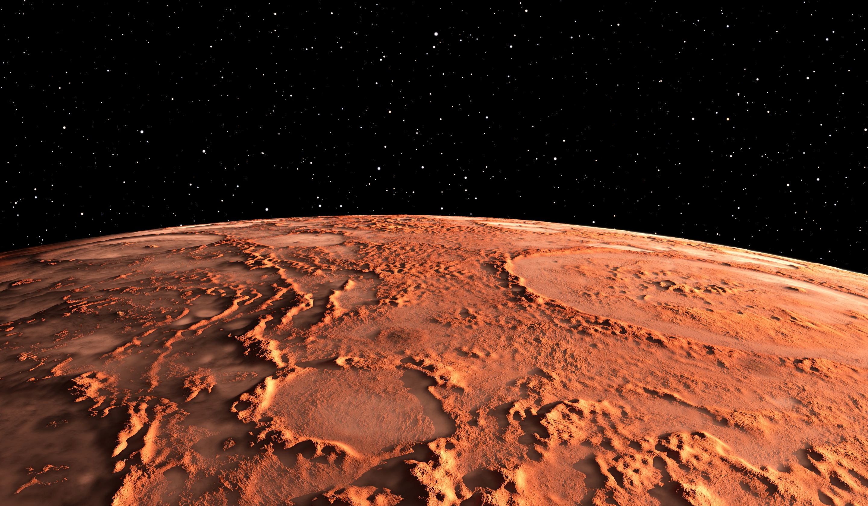 A digital illustration of the surface of mars from space