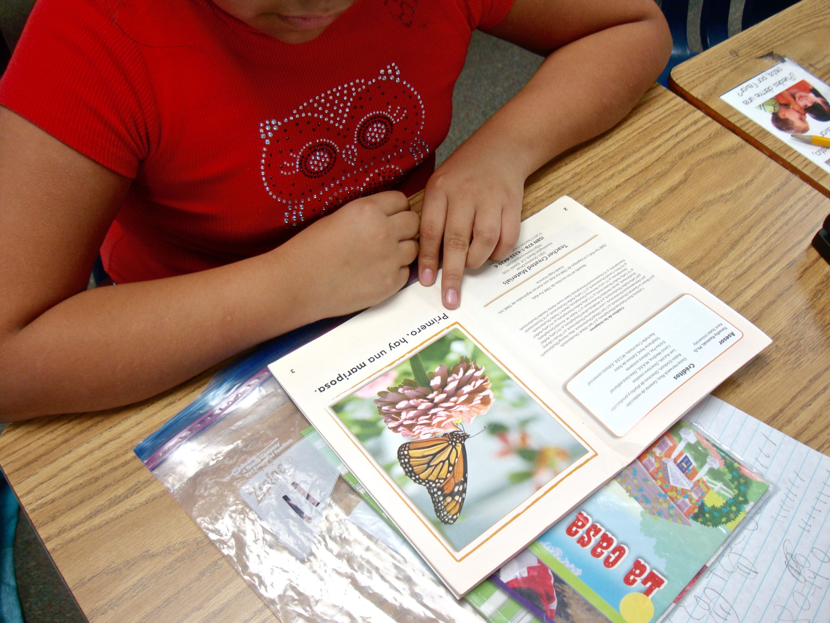A student works on an activity in Spanish at Bethesda Elementary School.
