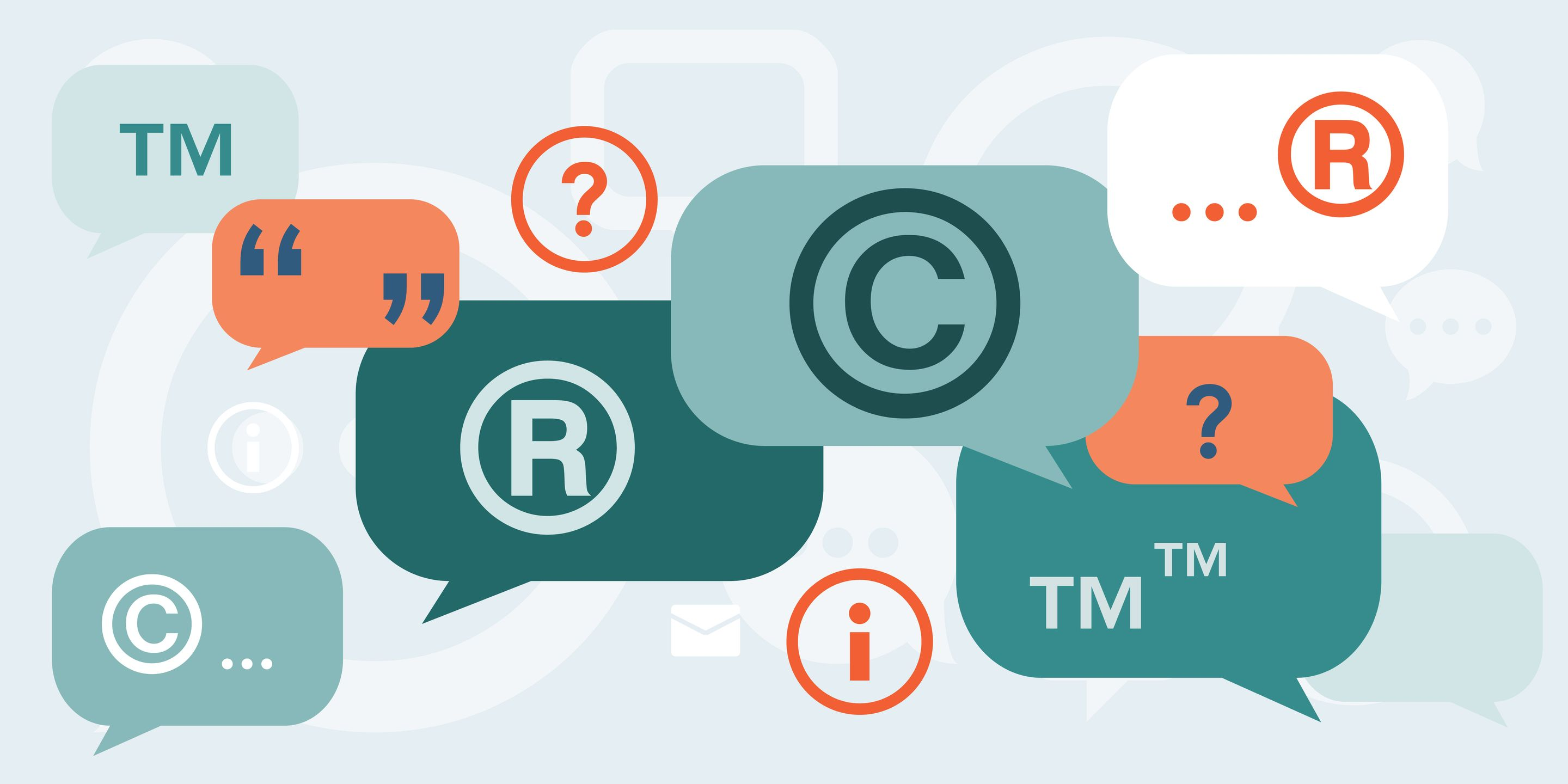 An illustration of word bubbles with copyright symbols and various punctuation marks