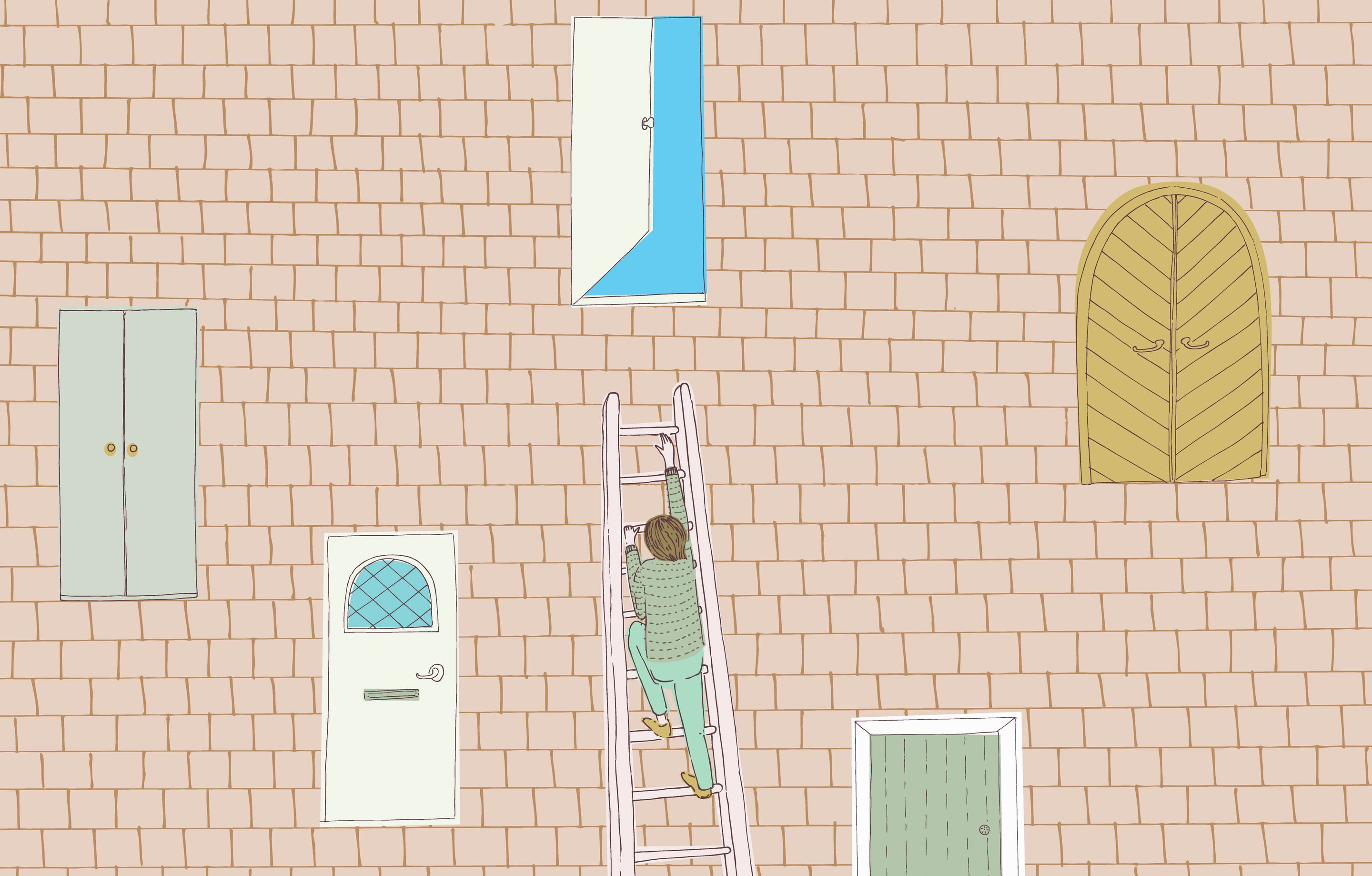 An illustration of a person climbing a ladder to an open door in a brick wall, representing personal growth and accomplishing goals