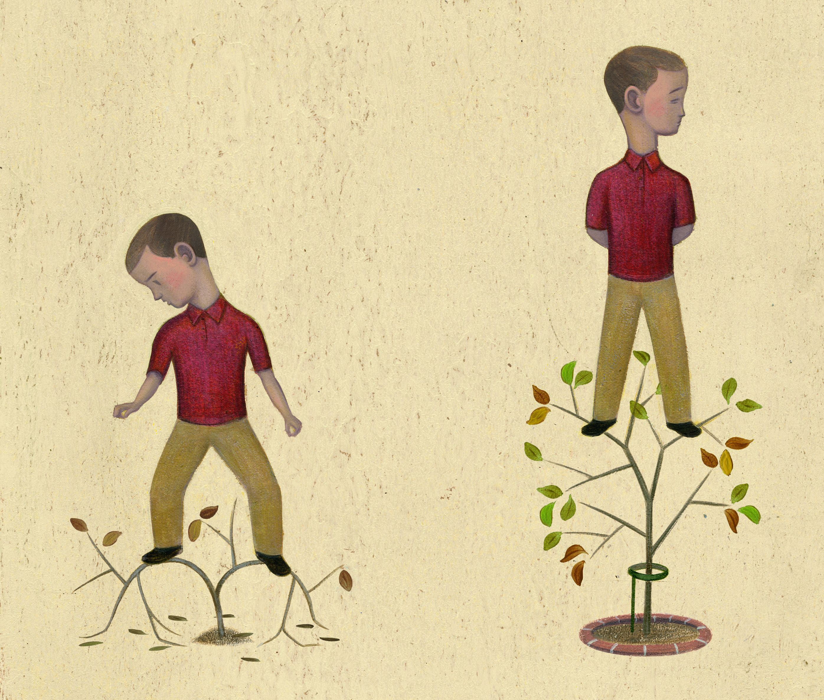 An illustration depicting a child struggling to grow