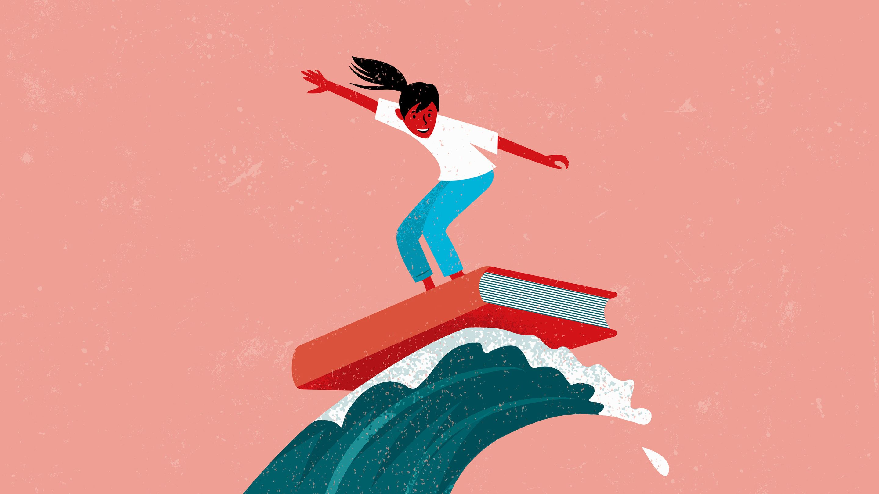 An illustration of a student surfing a wave on top of a book