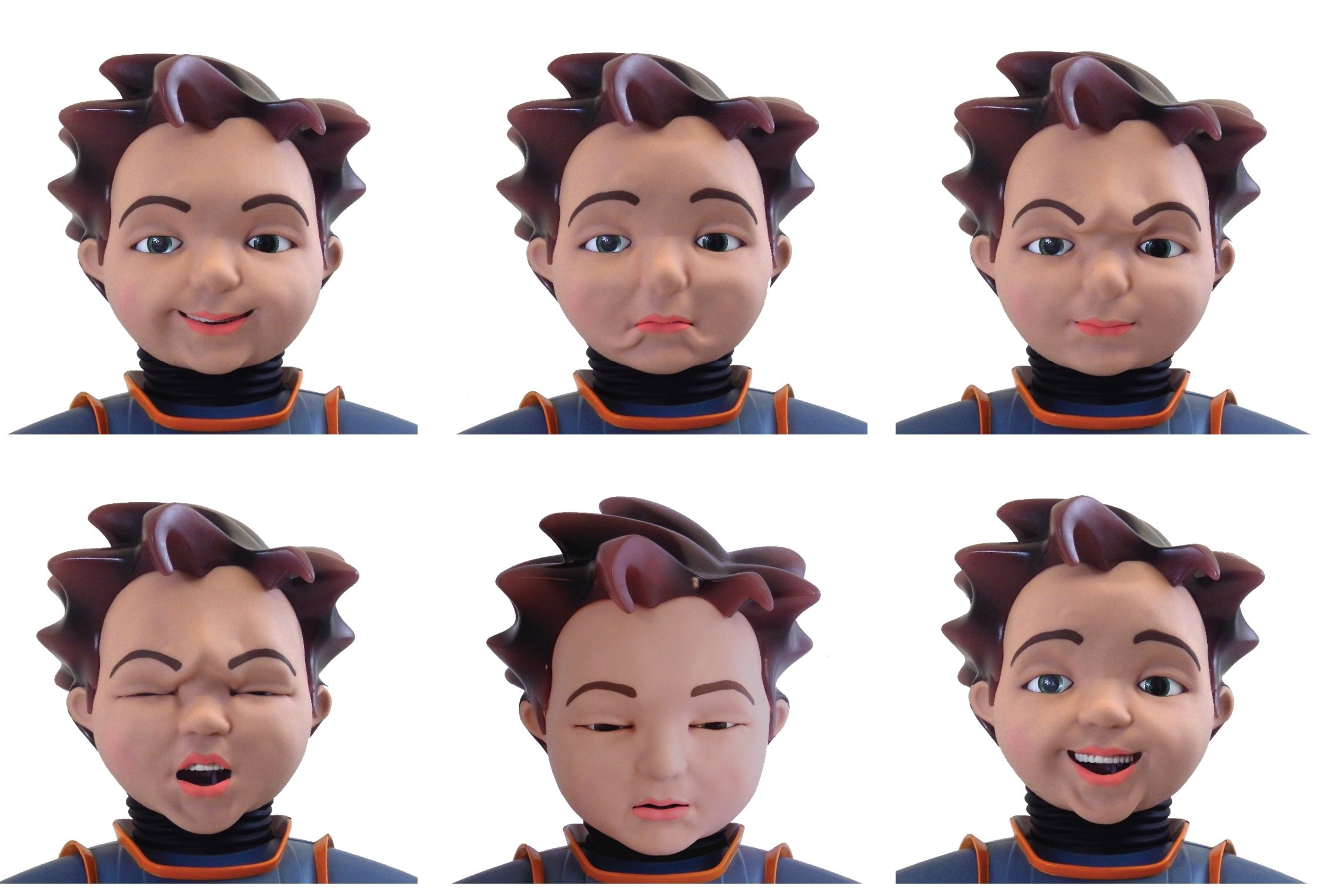 A humanoid robot, Milo makes a range of facial expressions to help autistic children identify human emotions.