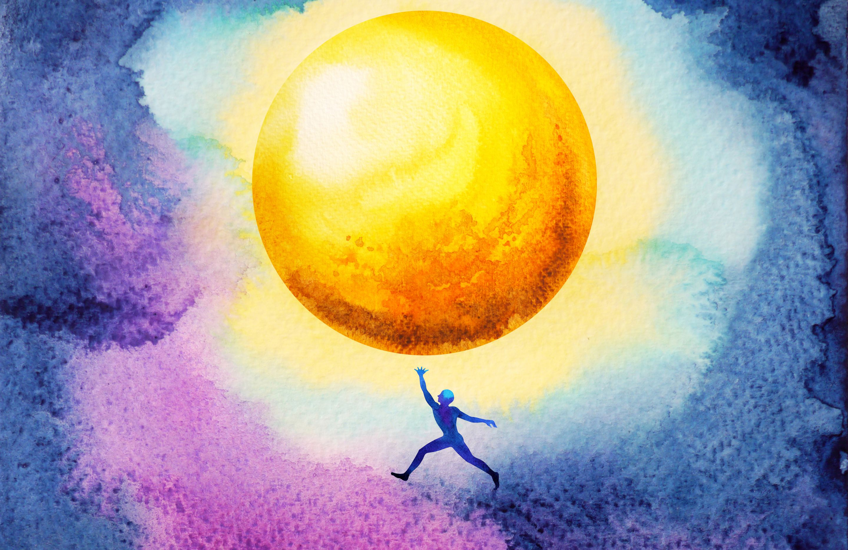 A watercolor painting of a silhouette of a person jumping up in the night sky to reach a glowing, golden moon