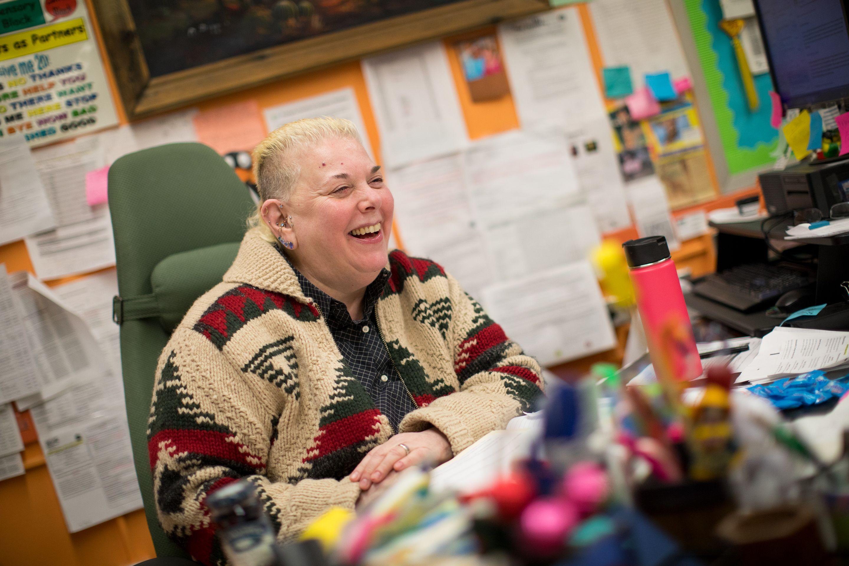 Principal Ava Kaplan at her desk at P186X