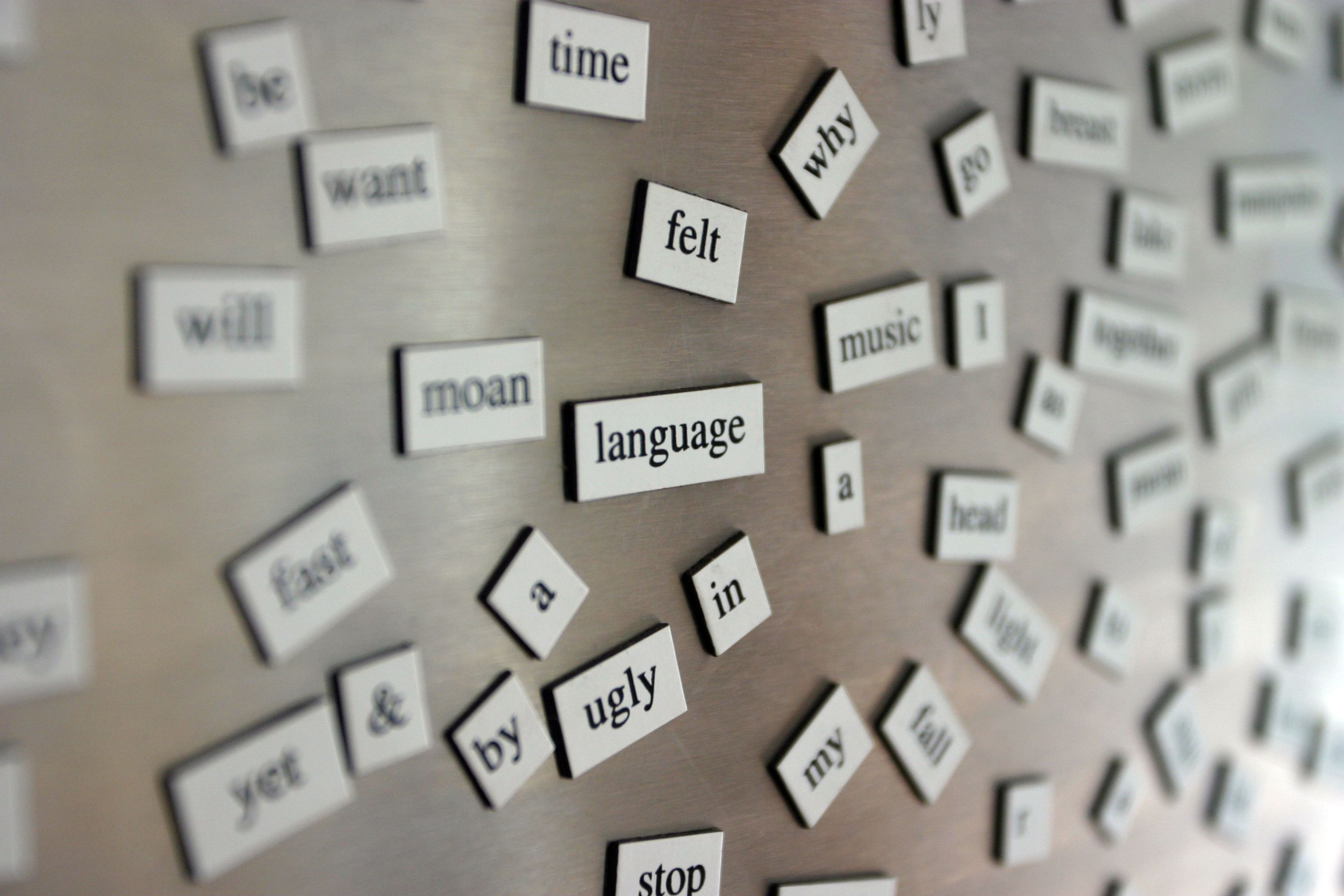 "Magnetic poetry tiles placed on a refrigerator door, including word tiles such as :""felt,"" ""language,"" ""time,"" and ""music"""