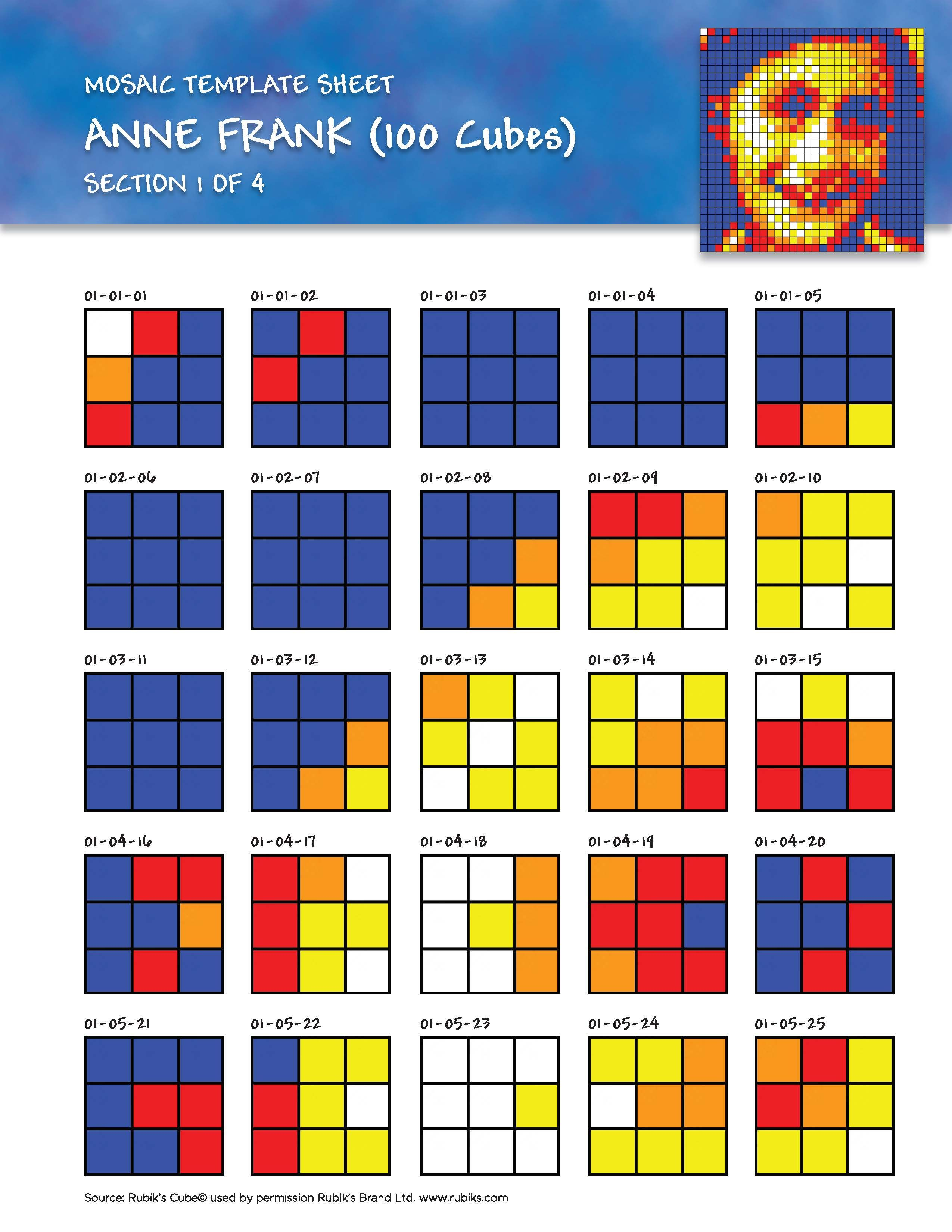 Students build a mosaic one 25-cube section at a time by arranging each cube to match the template.