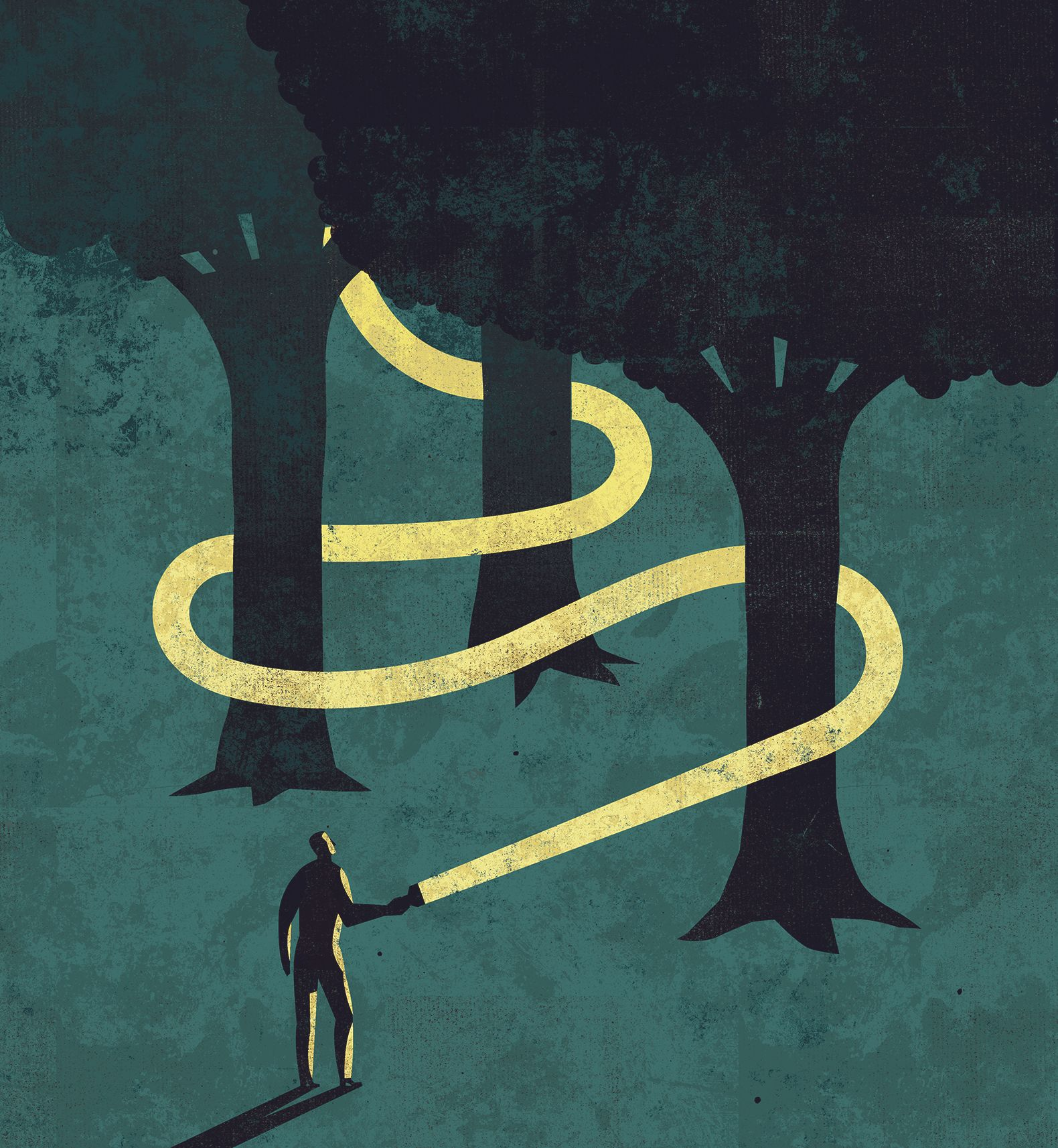 Illustration of man carrying flashlight and walking through some trees