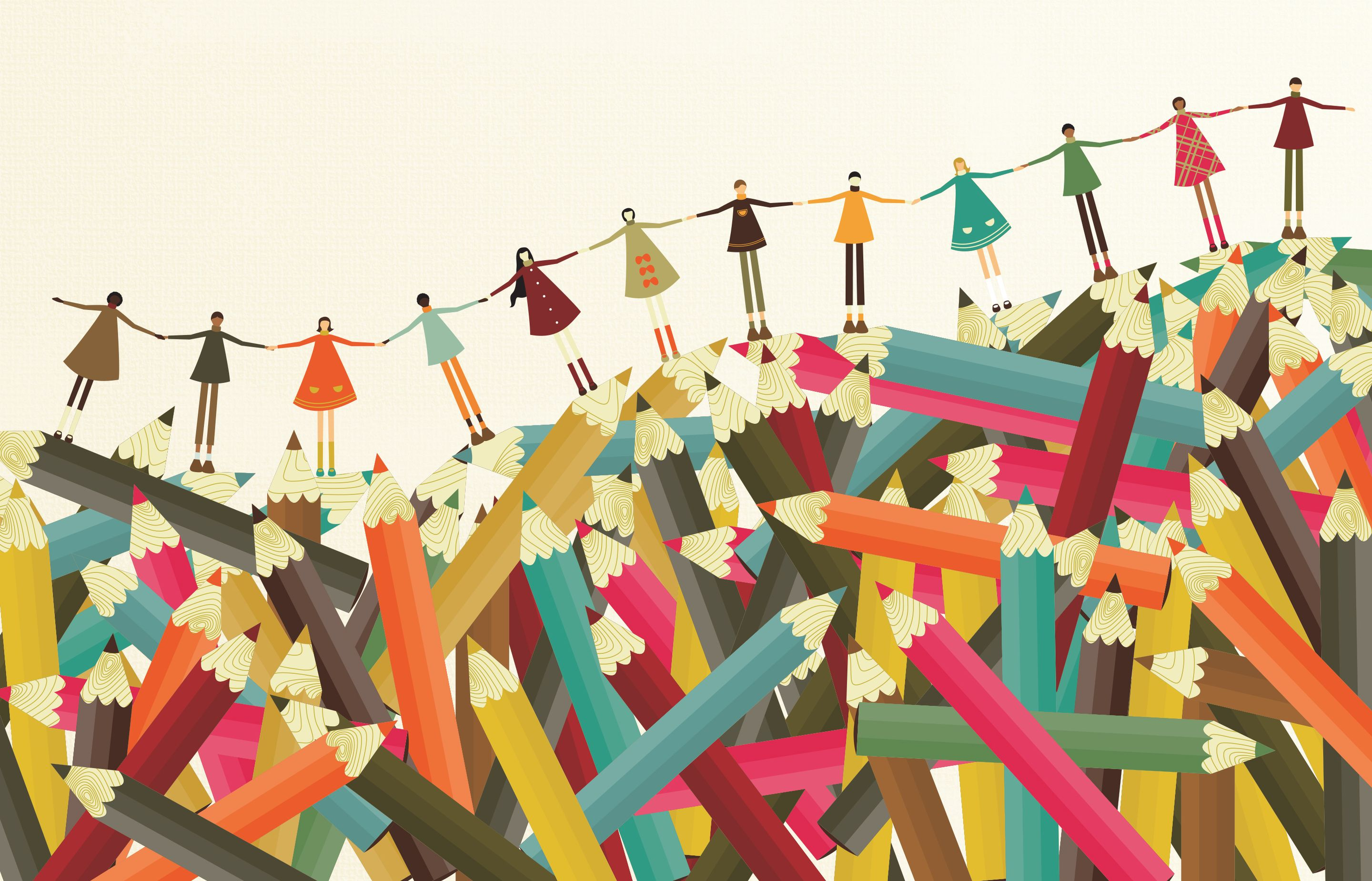 Illustration of students holding hands across a pile of pencils