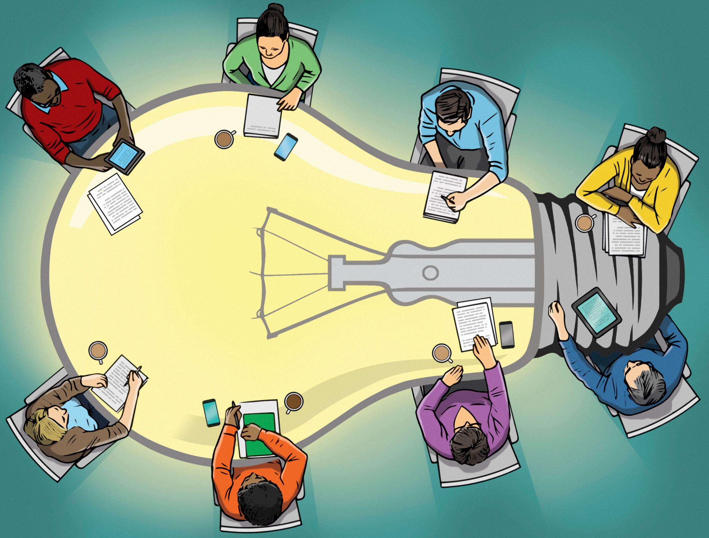 Illustration of teachers sitting around a table shaped like a lightbulb